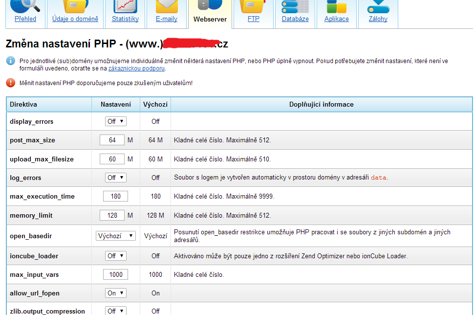 Nastavení PHP na VPS